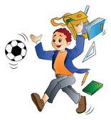 Man Throwing School Things, illustration — Stock Vector
