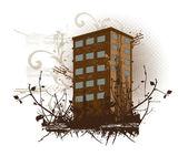 Brown building, illustration — Stock Vector