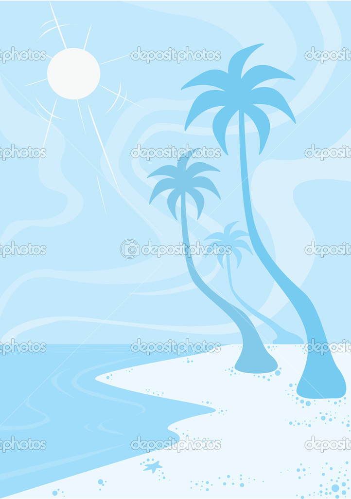 Beach, in Blue, Sun Sand Surf, Coconut Trees, vector illustration — Stock Vector #16186557