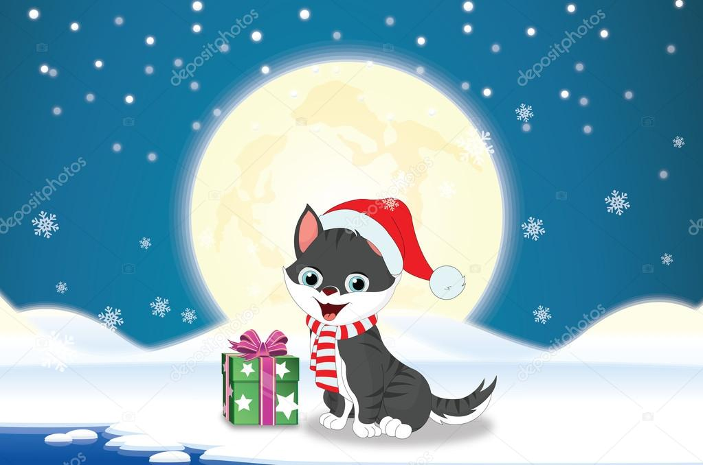 Merry Christmas in blue and white background with cat, present, moon, stars, snow, and snowy landscape, vector illustration — Stock Vector #16188731
