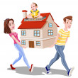 Family Carrying a House, illustration — Stock Vector