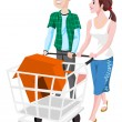 Couple Buying a House, illustration - Imagens vectoriais em stock