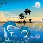 Moonlit Night at the Beach, illustration — Stock Vector #16194293