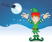 Merry Christmas elf, illustration — Stock Vector
