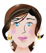 Indian face, illustration — Stock Vector