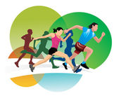 Running, illustration — Vettoriale Stock