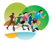 Running, illustration — Stockvektor