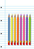 Colored pencils, illustration — Vector de stock