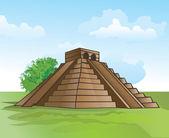 Mayan pyramid, illustration — Stock Vector