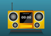 Yellow clock radio, illustration — Stock Vector