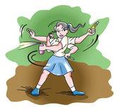 Self-Defense, illustration — Stock Vector
