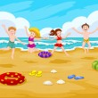 Children at the Beach, illustration — Stock Vector