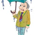 Man with a Small Umbrella, illustration — Stock Vector #16885687