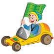 Boy in a Go Kart, illustration — Stock Vector