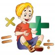 Stock Vector: Boy Learning Math, illustration