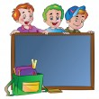 Three Boys Standing Behind a Chalk Board, illustration — Stock Vector #16906179