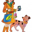 Woman with Bags Cellphone and a Pet Dog, illustration — Image vectorielle