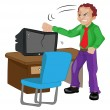 Royalty-Free Stock Vectorielle: Angry Man Pounding on a TV, illustration