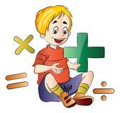 Boy Learning Math, illustration — Stock Vector