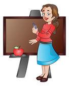 Lady Teacher Using a Chalk Board, illustration — Stock Vector