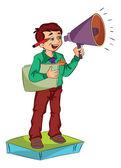 Człowiek za pomocą megafon, ilustracja — Wektor stockowy