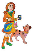 Woman with Bags Cellphone and a Pet Dog, illustration — Stock Vector