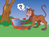 Monkey Using a Notebook, illustration — Stock Vector