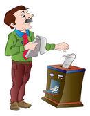 Man Shredding Documents, illustration — Stock Vector
