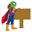 Superhero Hammering Sign Post to Ground, illustration — Stock Vector #16911037