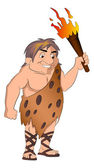 Caveman Holding a torch, illustration — Stock Vector