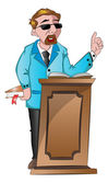 Man Speaking Behind a Podium, illustration — Stock Vector