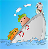 Ship Sinking with Captain, illustration — Stock Vector