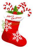 Christmas Stocking, illustration — Stock Vector