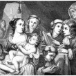 Stock Photo: Lucas Franchois and his Family - Painting, vintage engraving