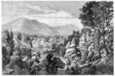 Paiolive Wood, in Les Vans, Rhone-Alpes, France, vintage engravi — Stock Photo