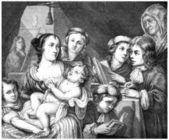 Lucas Franchois and his Family - Painting, vintage engraving — Stock Photo