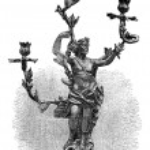 Branched Candelabra, vintage engraving — Stock Vector #23004864
