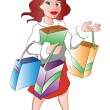 Woman with Shopping Bags, illustration — Stock Vector