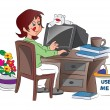 Young Woman Working from Home, illustration — Stock Vector
