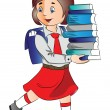 Vector of a schoolgirl carrying stack of books. — Stock Vector