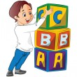 Royalty-Free Stock Vector Image: Boy Stacking Alphabet Blocks, illustration
