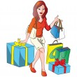 Royalty-Free Stock Vector Image: Vector of woman with giftbox and shopping bags.
