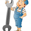 Boy with a Large Wrench, illustration — Stock Vector