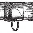 Fastening a Ring on a Rod, vintage engraving — Stok Vektör