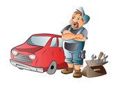 Mecánico de automóviles, ilustración — Vector de stock
