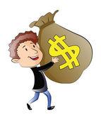 Jonge man met een zak geld, afbeelding — Stockvector