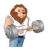 Half-man Half-lion Bodybuilder, illustration — Stock Vector