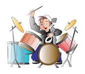 Boy Playing Drums, illustration — Stock Vector