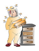 Beekeeper, illustration — Stock Vector