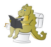 Dinosaur Using a Toilet, illustration — Stock Vector